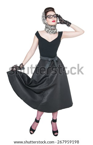 Young beautiful woman in retro pin up style posing isolated over white - stock photo