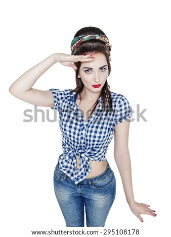 Young beautiful woman in retro pin up style saluted isolated over white - stock photo