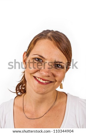 young beautiful woman  in studio shot on white background