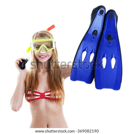 Young beautiful woman in swimsuit posing with diving mask and flippers, isolated on white - stock photo