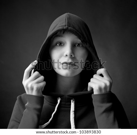 young beautiful woman in the cape  (studio shop) - stock photo