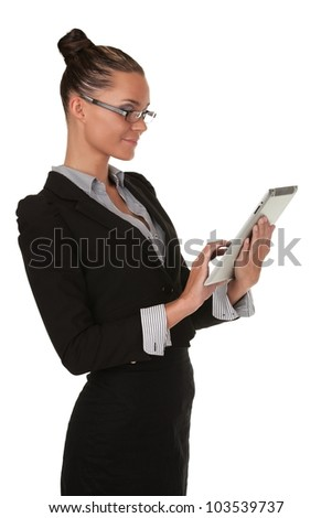young beautiful woman in the studio with Tablet