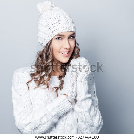 young beautiful woman in winter