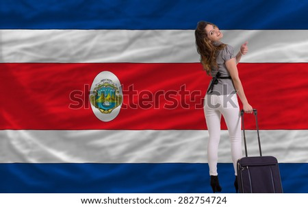young beautiful woman is traveling to costarica - stock photo