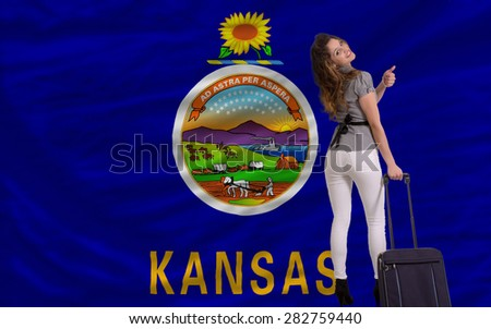 young beautiful woman is traveling to kansas - stock photo