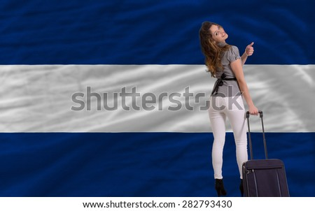 young beautiful woman is traveling to nicaragua - stock photo