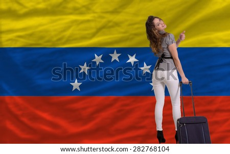 young beautiful woman is traveling to venezuela - stock photo