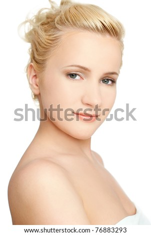 young beautiful woman, isolated on white