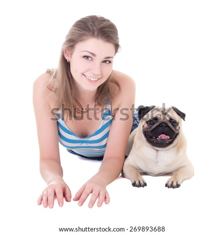 young beautiful woman lying with pug dog isolated on white background - stock photo