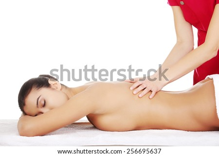Young beautiful woman massage in spa