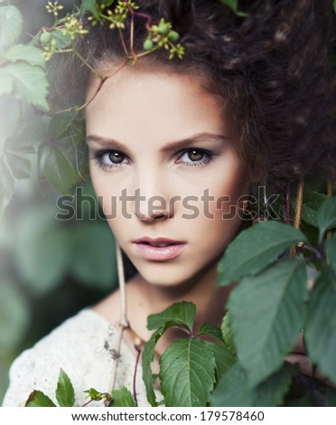 young beautiful woman. morning. grapes - stock photo