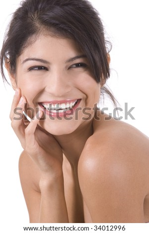 Young beautiful woman on a white background.