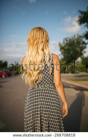 Young beautiful woman on outdoor cheerful. - stock photo