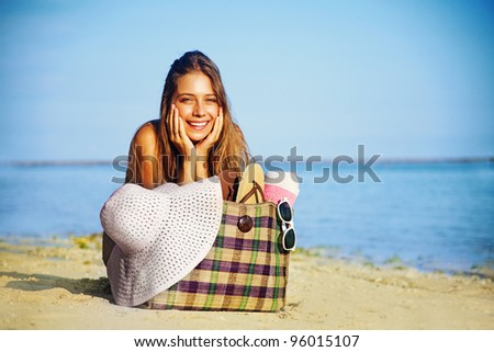 Young beautiful woman on the beach, bali - stock photo