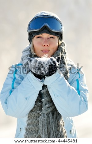 young beautiful woman outdoor in winter - stock photo