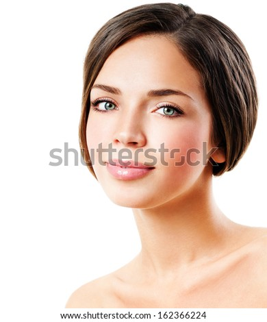 young beautiful woman. perfect skin - stock photo