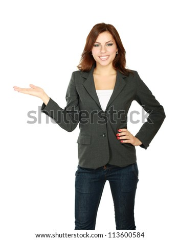 Young beautiful woman pointing at copyspace, isolated on white background