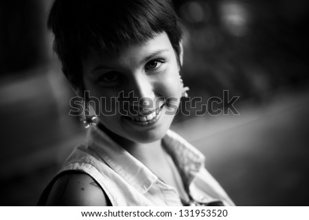 Young beautiful woman portrait in black a white. - stock photo