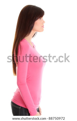Young beautiful woman portrait, isolated on white background - stock photo