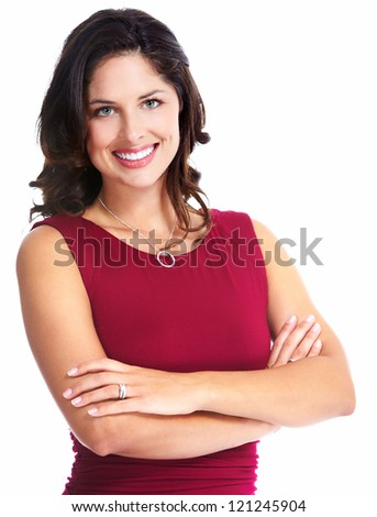Young beautiful woman portrait. Isolated over white background. - stock photo