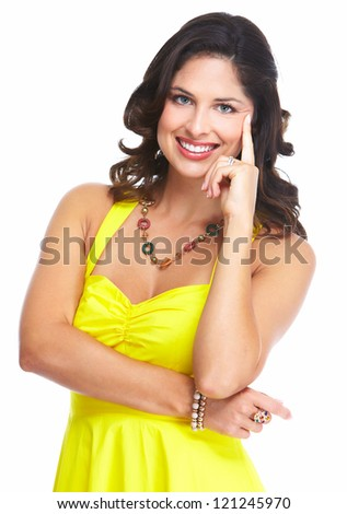Young beautiful woman portrait. Isolated over white background.