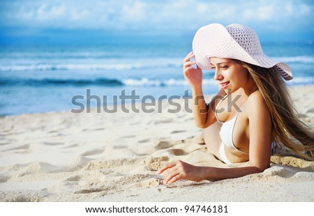 young beautiful woman portrait on the beach, bali