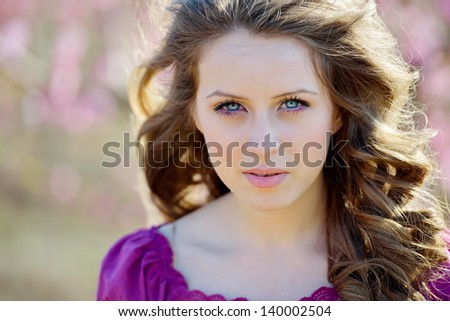 young beautiful woman portrait outdoor - stock photo