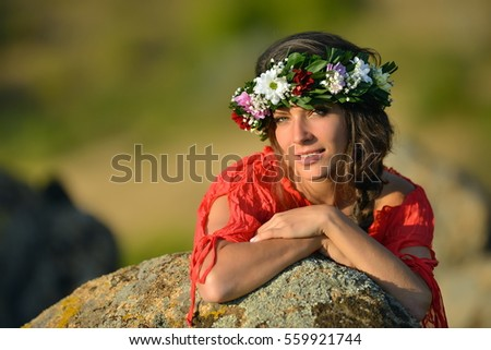 young beautiful woman portrait outdoor