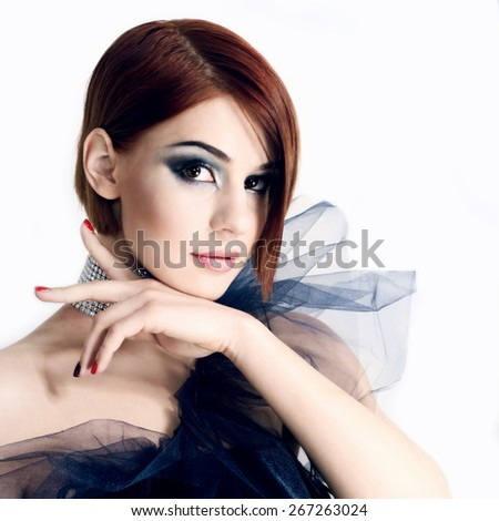 Young beautiful woman portrait with clean skin - stock photo