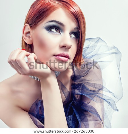 Young beautiful woman portrait with clean skin