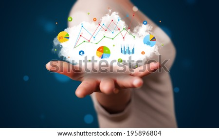 Young beautiful woman presenting cloud with charts and graph icons and symbols