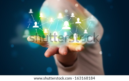 Young beautiful woman presenting modern technology social network map