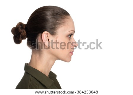 young beautiful woman profile, isolated over white background - stock photo