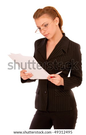 Young beautiful woman reading documents, isolated on white background.