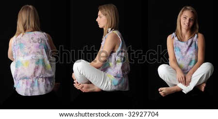 Young beautiful woman sitting against black background - front, side and back shoot - stock photo