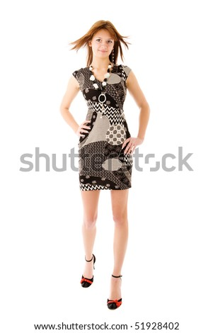 Young beautiful woman standing isolated on white