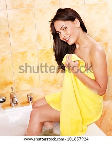 Young  beautiful woman take bubble  bath. - stock photo