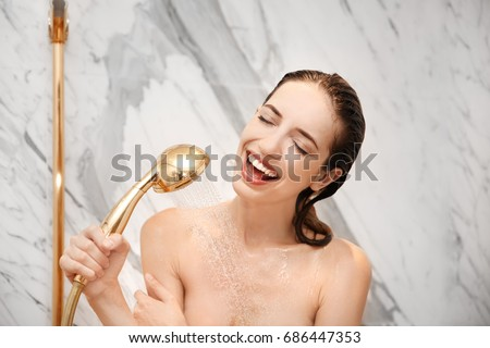 Young Beautiful Woman Taking Shower Bathroom Stock Photo 686447353 ...
