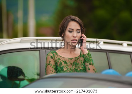 Young beautiful woman, talking on the phone