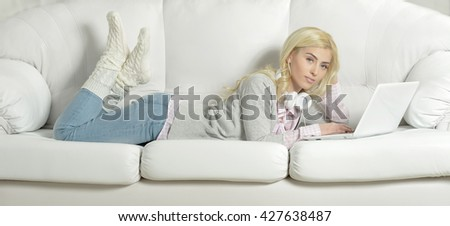 young beautiful woman using a laptop