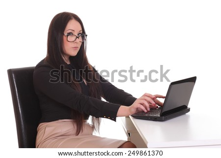 Young Beautiful Woman Using Laptop - stock photo