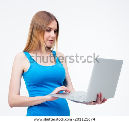 Young beautiful woman using laptop over white background