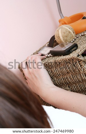 Young beautiful woman waking up in the morning . - stock photo