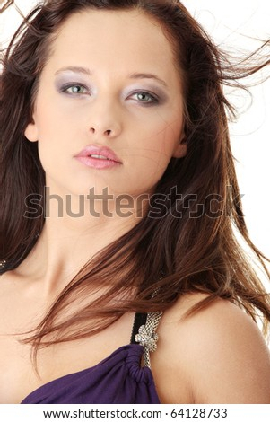 Young beautiful woman wearing dress posing isolated on a white background - stock photo