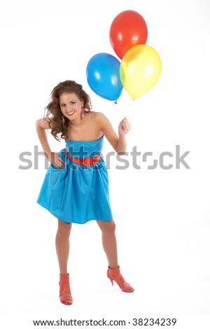 Young beautiful woman with a bunch of balloons