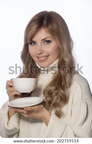 young beautiful woman with a cup
