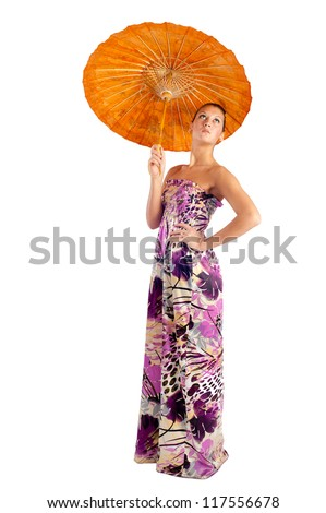 Young beautiful woman with asian umbrella. Isolated on white - stock photo