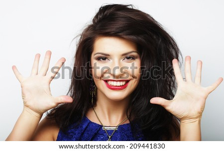 Young beautiful woman with big happy smile