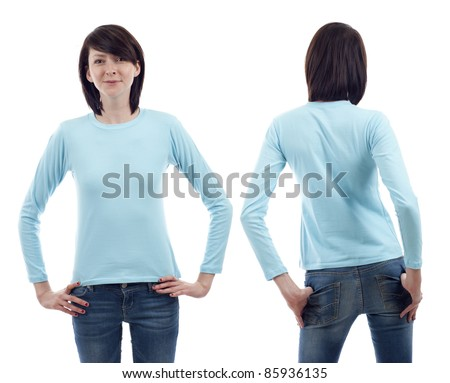 Young beautiful woman with blank light blue long sleeve shirt, front and back. Ready for your design or logo. - stock photo