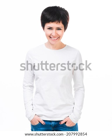 Young beautiful woman with blank white long sleeve shirt.  - stock photo